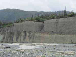Bluffs upstream of Denali Fault near Duke River crossing Yukon Territory, Canada