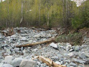 Debris flow in mountainous terrain British Columbia, Canada